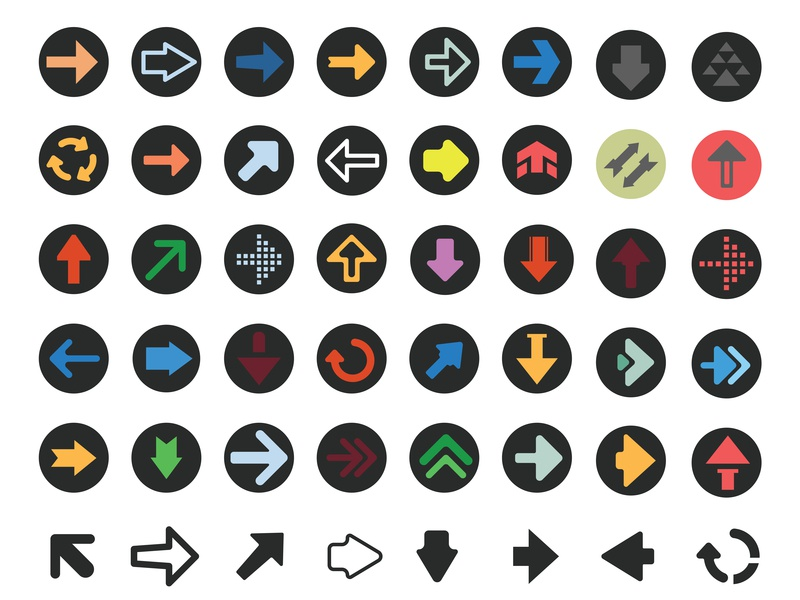 Arrow icon set orientation icon undo symbol vector sign back forward round set direction next right