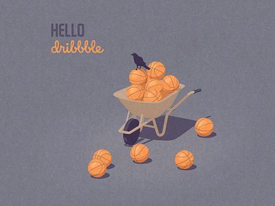 autumn harvest justineshirin basketball pumpkins halloween october axonometric editorial illustration