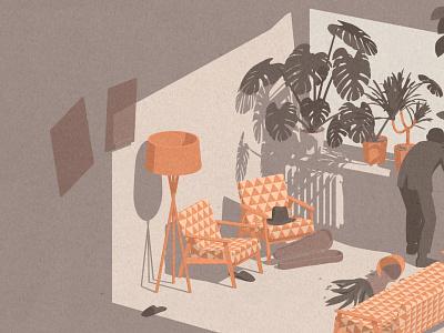 1968 pattern sniper monstera sixties fifties interior justineshirin illustration editorial axonometric