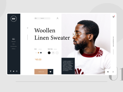 Woollen shopping store Product page