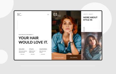 Belle Curls Website landing page design