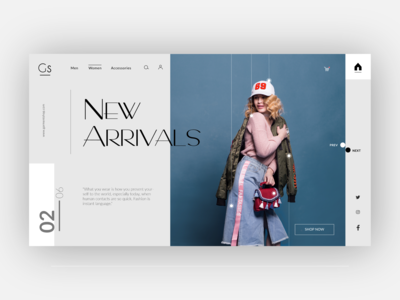 Fashion website landing page design