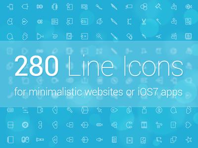 280 Line Icons line icon minimalistic icon stroke icon thin icon ios7 icon flat icon