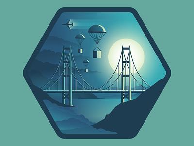 Deployed Product Engineering deploy moon sun fog bay plane parachute bridge badge dpe