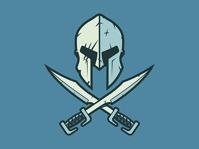 Gladiator Helmet battle damaged blue sword swords helmet spartan gladiator
