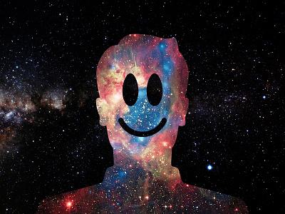 Spaceman frontier galaxy profile man happy stars space universe