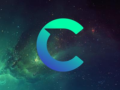 C Logo shadow cutout angles geometric circle universe stars space blue gradient logo letter c