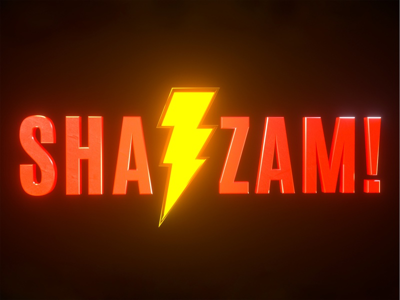 Shazam Movie poster title yellow logo yellow red wine red future science fiction dc 沙赞 shazam c4d three-dimensional movie art poster movie card movie app movie logo design 设计 ui