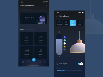 Smart home app 01 mobie smart home blue technology app ux design ui