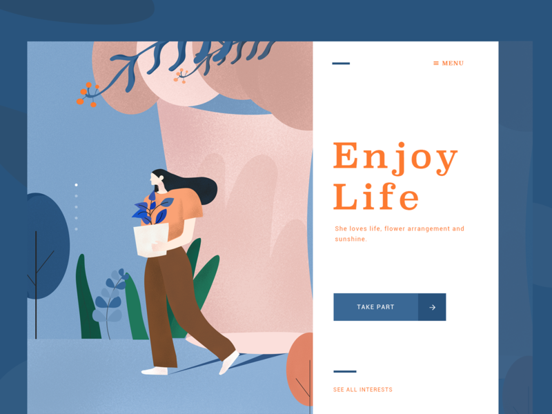 Girl-Enjoy Life design blue girl illustration