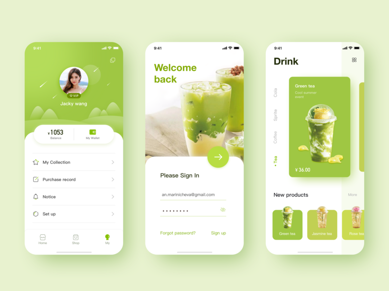Drink Personal Center app illustration design icon ui