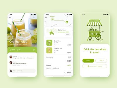 Drink express app illustration icon design ui