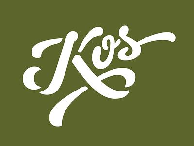 Kos lettering script stencil brush pen agrotourism identity