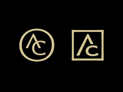 AC design custom digital lettering type square circle center branding logo monogram