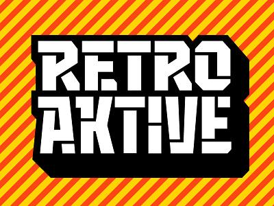 Retro Aktive shadow block robust stencil lettering logo blog coding digital design aktive retro