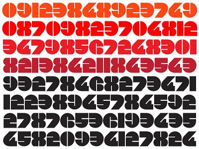Numb geometric numeral black fat color type design digital clock number
