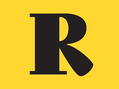 R lettering vector identity yellow flat branding serif typography design digital font type