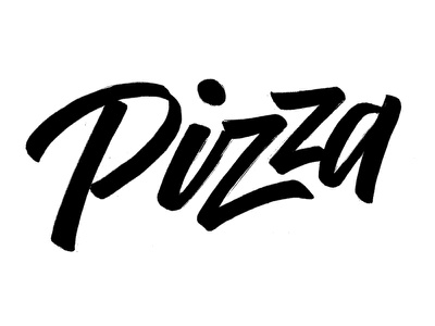 Pizza hand white stroke black digital calligraphy brush type lettering food pizza