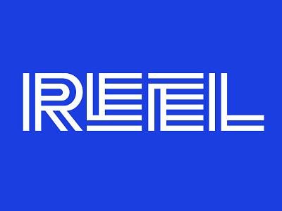 REEL sans geometric line design typography type blue video reel vector digital lettering