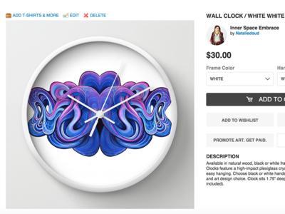 Inner Space Embrace Wall Clock interface white blue lines flow purple art clock