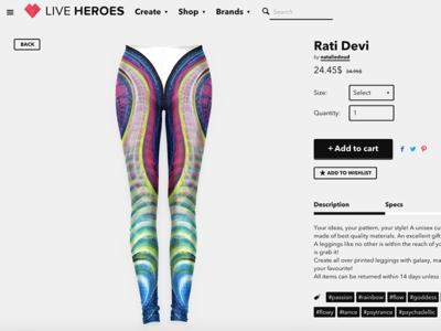 Rati Devi Leggings waves colors paint cart interface shop flow rainbow leggings art