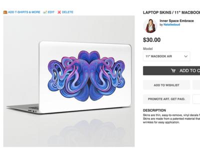 Laptop Skin - Inner Space Embrace  grey lines flow purple white blue interface ui cart art laptop