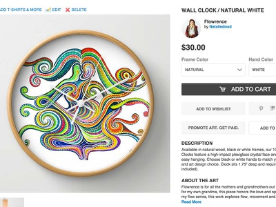 Flowrence : Clock on Society6 cart wood white paint bright colors rainbow product art clock flow