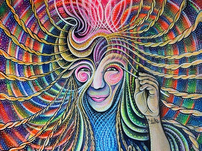 Self Portrait of a Being of Flowing Energy magic psychadellic trippy realism luminosity light art paint colors rainbow energy flow