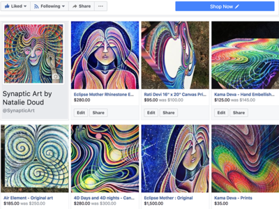 Synaptic Art by Natalie Doud shop visionary psychonaut trippy facebook store rainbow divine colorful psychedelic woman art