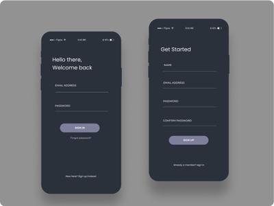 Dark Theme Signup/Login screen product design app ui ux design