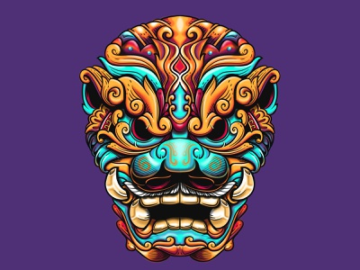 Balinese  Foo Dog ornament culture chinese foodog japan logo design vector illustration