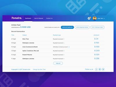 Tonaira Money Transfer Dashboard dashboard transaction transfer money