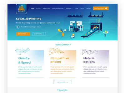 Emmet 3D printing Landingpage website responsiveness material page landingpage landing invitation giveaway emmet 3dprinting 3d