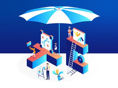 Marketing umbrella illustration