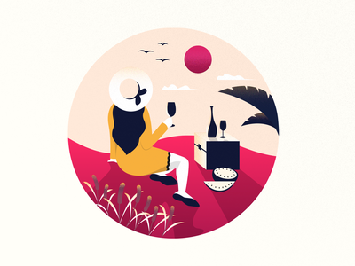 A Cup of Wine for Morning sunset sunday wine girl illustration