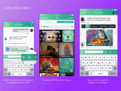 Gifs and Likes on Whatsapp features like gif mobile app ui redesign concept whatsapp
