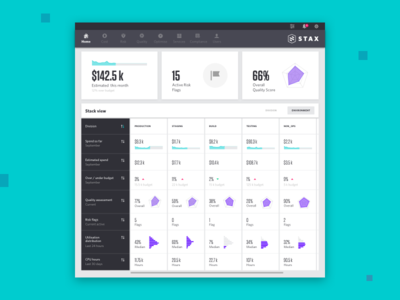 Stax Dashboard webapp stack data visualisation gui graphs cards ux ui dashboard aws cloud stax