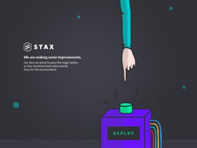Stax maintenance page stax maintenance page deploy illustration cloud aws developer color hand button computer cable
