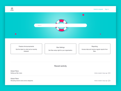 Stax support page cyan lifesaver banner zendesk cloud aws stax support page