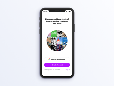 Sign up screen interface mockup ui tracker app iphone x ios sign up