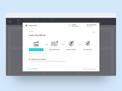 Stax Onboarding ui steps set up illustration cloud aws stax onboarding