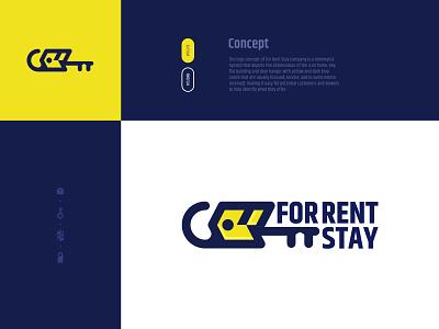 For Rent Stay logomark concept inspiration hanger keyring key building rental home rent branding design icon logo illustration minimal
