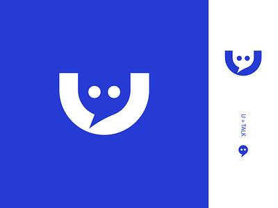 U + Talk Logo Design icontype minimal communicate consult bubble letter logo icon uletter talk