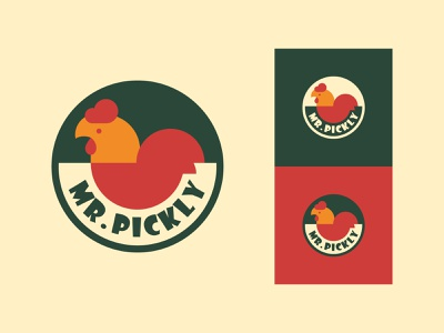 Pickle Brand - Mr. Pickly Logo Design flat hen icon branding identity vintage logos logotype mr. hot spicy tasty pickle chicken vintage logo minimal logo illustration