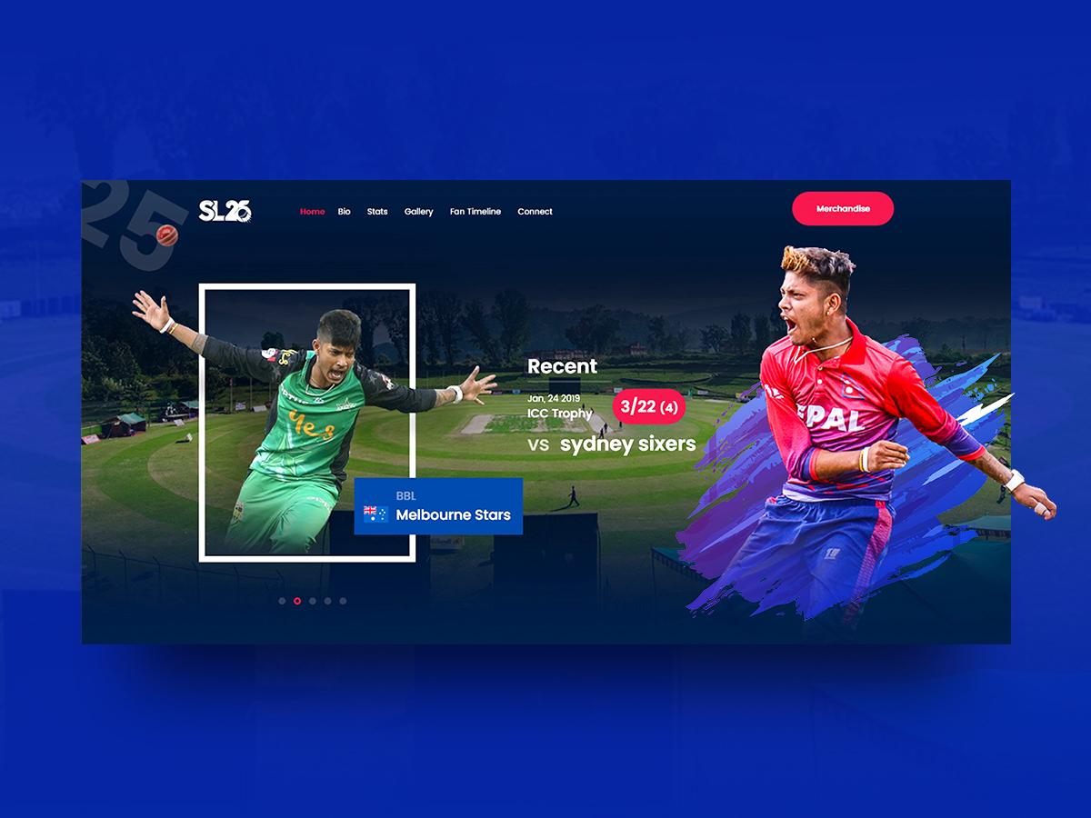Sl25 Web UI - Sandeep Lamichhane web design theme player webuiuxdesign cricket sports minimal ux ui web