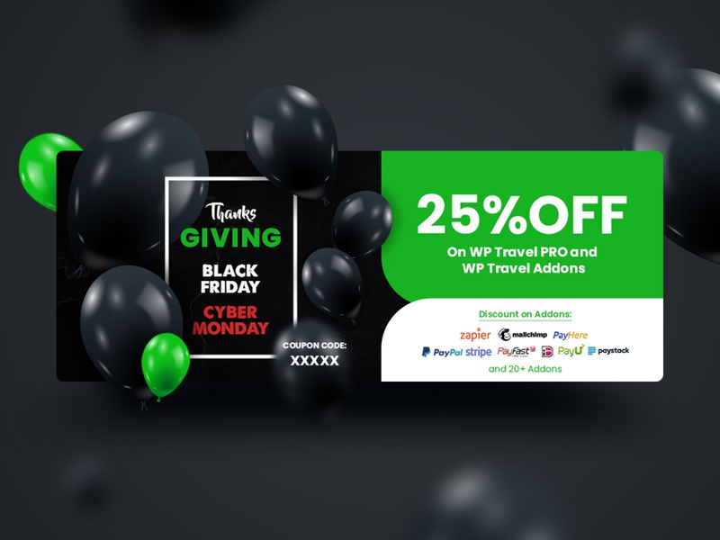 Social Cover Banner - WP Travel dark theme bubbles percent discount coupon code cybermonday blackfriday black social media cover design branding ux ui colorfull illustration design color minimal