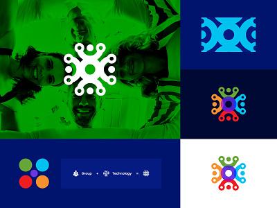 Group+Technology - Logo Design plan logodesign elegant community pattern team technology tech group illustrator vector app branding colorfull icon logo illustration design color minimal