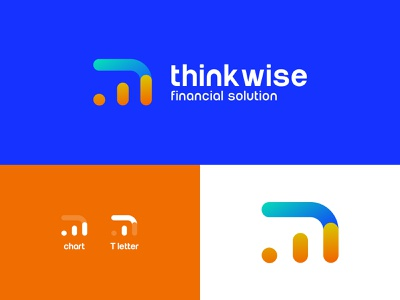 thinkwise financial logo financial services corporate solutions customer service bank chart think financial branding vector ui flat colorfull icon logo illustration color minimal