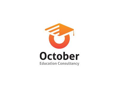 October Education Consultancy Logo Concept logobranding creative graduate education logo orange logo logotype icon vector study abroad consultancy visa student colorfull flat logo illustration branding minimal