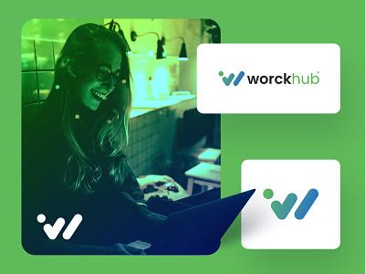 Worckhub Logo Design worker w logo gradient color clean job post jobs gig logo design outsourcing world hub work icon freelance designer freelancer colorfull logo illustration color minimal